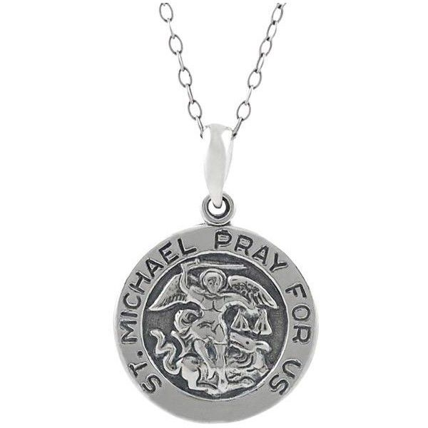 Journee Sterling Silver St. Michael 'Pray For Us' Necklace (33 CAD) ❤ liked on Polyvore featuring jewelry, necklaces, white, cable chain necklace, chain pendants, chain necklace, long pendant and sterling silver chain necklace