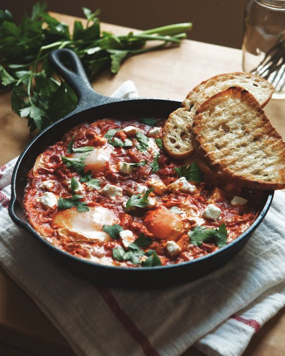 Breakfast Recipes: Shakshouka---I don't know what it is but it looks savory! Could be adapted to go on polenta or gf noodles.