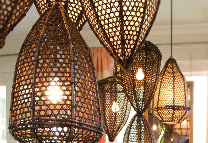 Tucker Robbins Transforms Indonesian Fishing Baskets into Beautiful Pendant Lamps