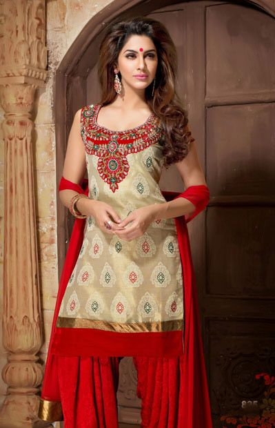USD 203.73 Brown Silk Patiala Salwar Kameez    34815