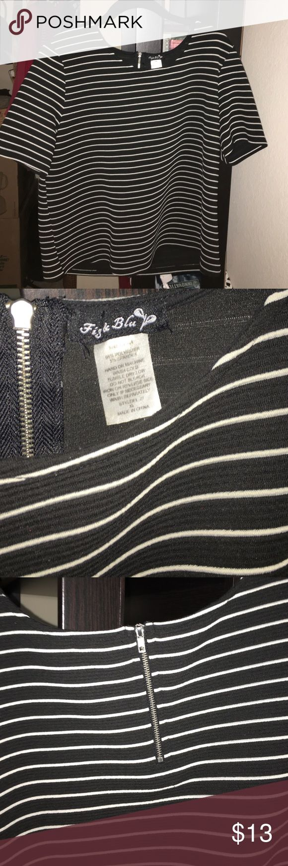 Black and White Striped Thick Top I found this top at Burlington Coat Factory that is made of thick material for winter. Worn twice and in perfect condition! Fig 8C Blue Tops Tees - Short Sleeve