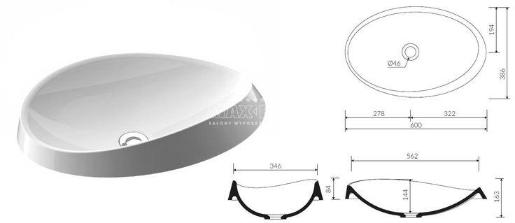 Marmorin Alice III umywalka wpuszczana w blat 600x386mm P.550.060.020.010 - Umywalki - wyposażenie wnętrz Max-Fliz