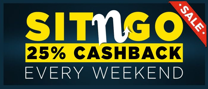 Get 25% cashback every weekend at 888poker. Play Sit & Go's from Thursday to Sunday and you'll get 25% back on your buy-ins! So no matter what, you win!