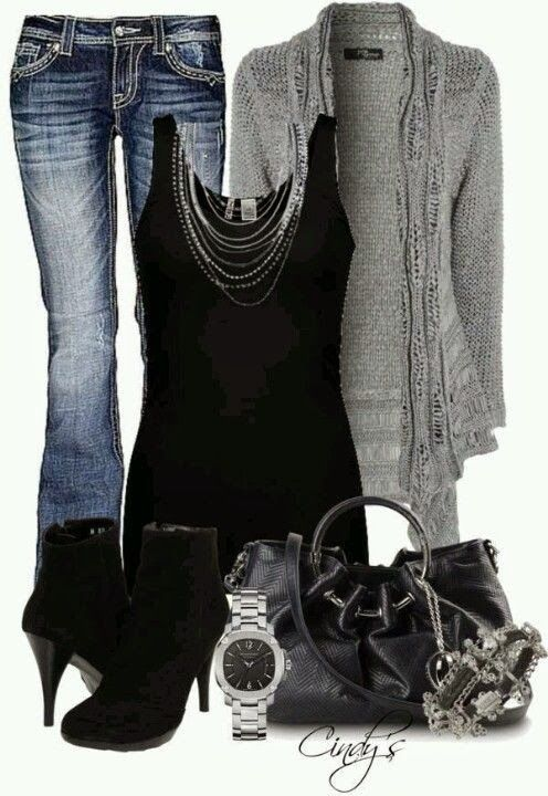 Stylish jeans, adorable grey cardigan, black blouse, high heel shoes and handbag for fall