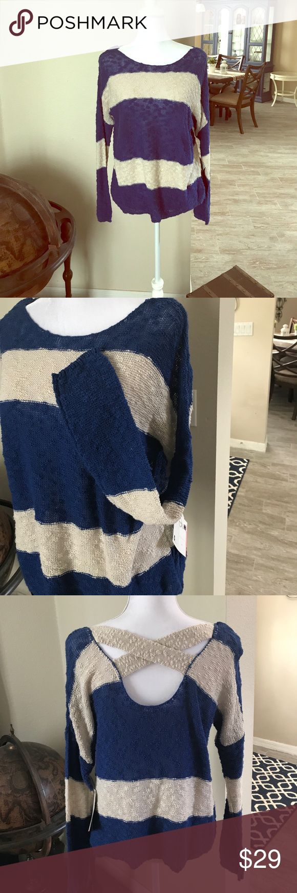 NWT Roxy Beachy Knit Criss Cross Sweater! SzS This wonderful sweater is light and delicately woven in a gorgeous nautical blue and cream. It has criss cross detailing on the scoop back and the fit is a body skimming drape - would be great over your bikini out on the boat this summer or with a pair of cut off shorts and flip flops at the resort! 100% Cotton. From a smoke free home! 🍷 Roxy Tops