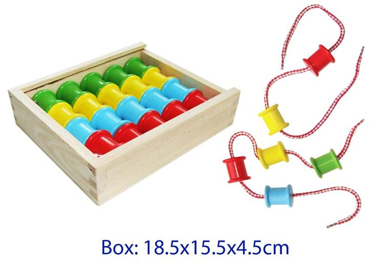 Wooden Lacing Reels - $15 Based on the traditional cotton reels they have a lovely feel to them when held.  There are 20 reels with 4 colours: yellow, blue, green, red. Each reel has one hole in it. There are two laces which are plastic tipped for ease of threading.   Enhances: Fine motor skills, counting skills, sorting skills, colour recognition, problem solving, creativity  3yrs +