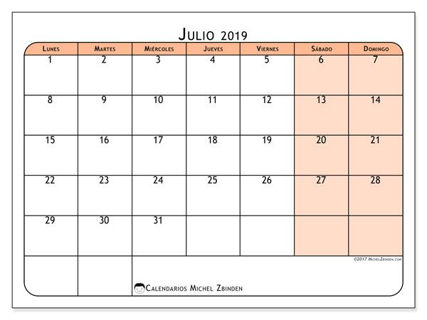 Calendario Julio 2020 Para Imprimir.Calendario Julio 2019 61ld Invitacion Calendario Enero