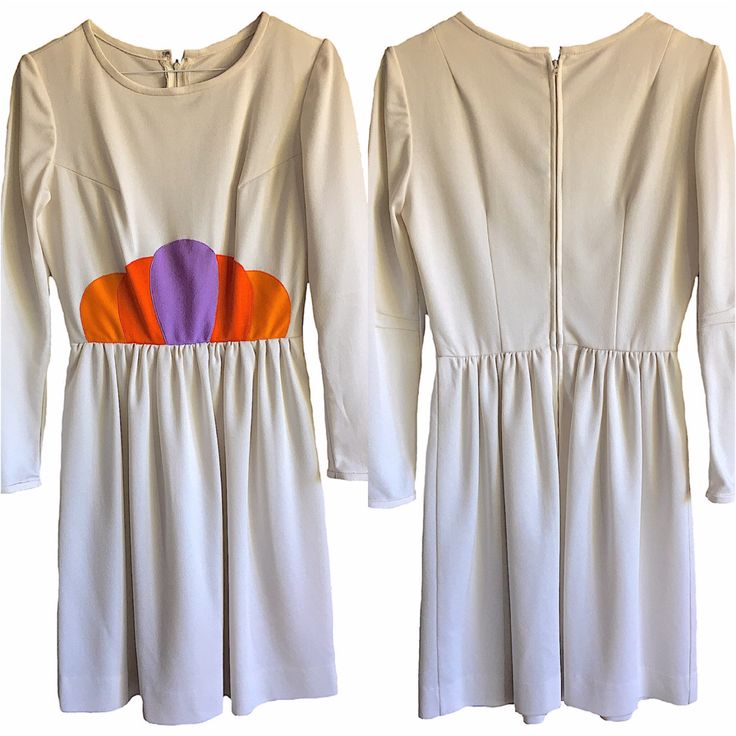70s 70's Dress Women's Vinitage long sleeve mini embroidered waist detail purple orange perfect pleated festival sale studio disco handmade by VELVETMETALVINTAGE on Etsy