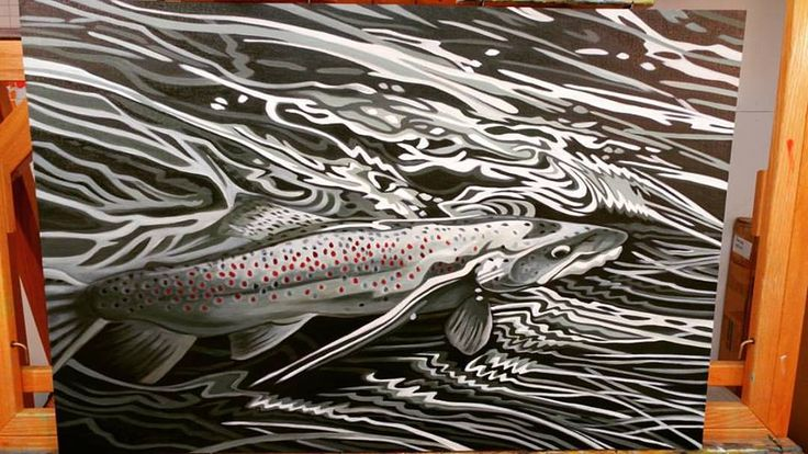 Brown Trout for President is still a funky monkey. Should be done by next week. I'll post a final. #lovemyfans #browntrout #flyfishingart #intheweeds #monochrome #makingart www.admaddox.com