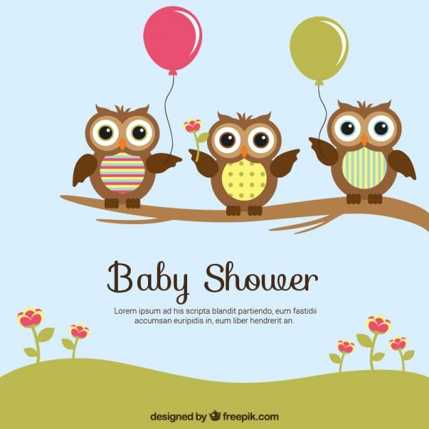 Baby shower card with cute owls Free Vector. More Free Vector Graphics, www.123freevectors.com