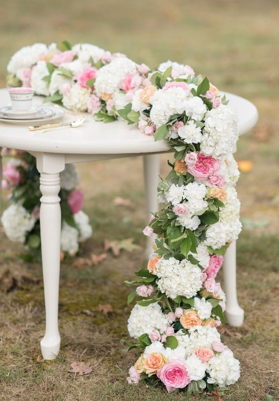 Love This Floral Table Runner! Make It With Silk Flowers Months Before The  Wedding And