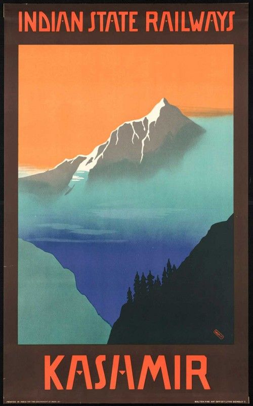 Kashmir - Excellent Indian State Railways poster with no trains :)