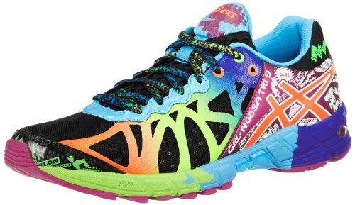 asics womens gel-noosa tri 9 running shoe black/neon coral/green
