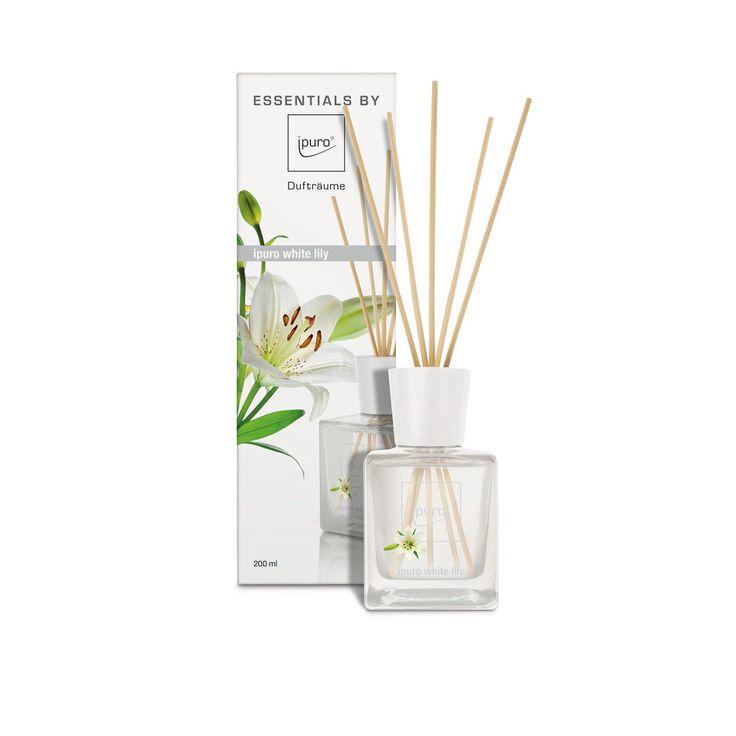 Ipuro Raumduft Essentials White Lily. Für alle Wohnbereiche eignet sich der angenehm leichte Duft mit Pfirsich, Maiglöckchen und Jasmin. #raumduft #lilie #whitelily #sommer #summerdream #summer #roomfragrance www.bettwaren-shop.de