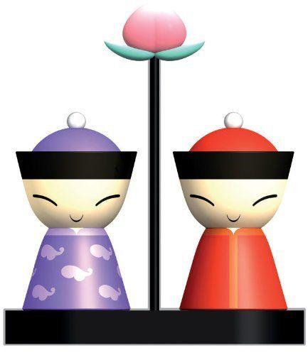 A di Alessi Mr and Mrs Chin Salt and Pepper Set..