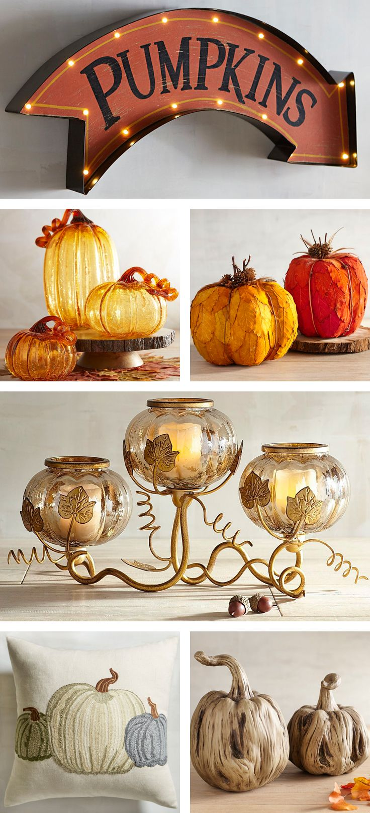Celebrate the season of abundance by displaying Pier 1 decorative pumpkins everywhere this year. Choose from art glass, metallic, feathered, lace and LED, and make our pumpkins the stars of your most memorable fall display. Take your pick—there are so many to choose from.
