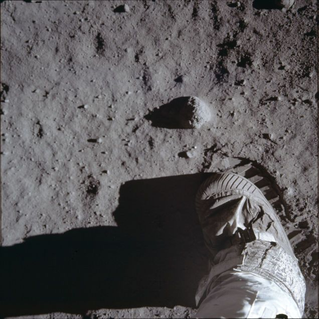 Rare photos reveal fascinating views of the Apollo 11 moon landing  You're looking at Buzz Aldrin lifting his boot before taking the photo of the most iconic footprint in history. It's one of the many discarded Apollo images stored in NASA's archives. Here's a collection of those rare, funny, intimate, and always fascinating views to celebrate the 45 anniversary of the landing on the Moon.