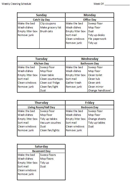 How to Create a Weekly House Cleaning Schedule, I could adapt this for my household