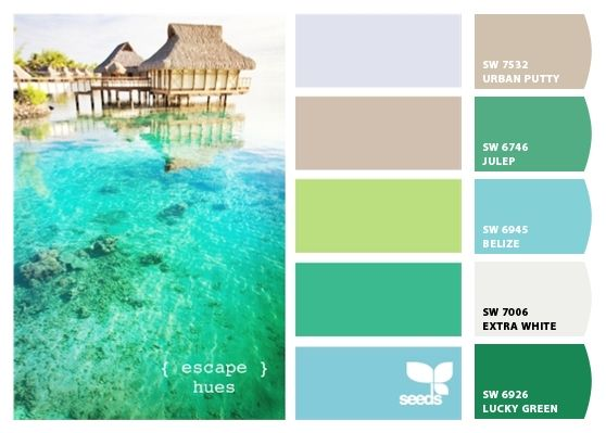 "The ""Escape Hues"" color palette from Design-Seeds.com is one of those amazing palettes which offers a tropical palette with less than typical shades.  We used Let's Chip It! from Sherwin Williams to see what colors they recommend using"
