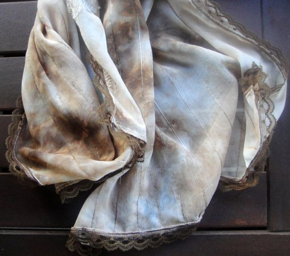 Romantic scarf with lace by athanasiaCREATIONS on Etsy