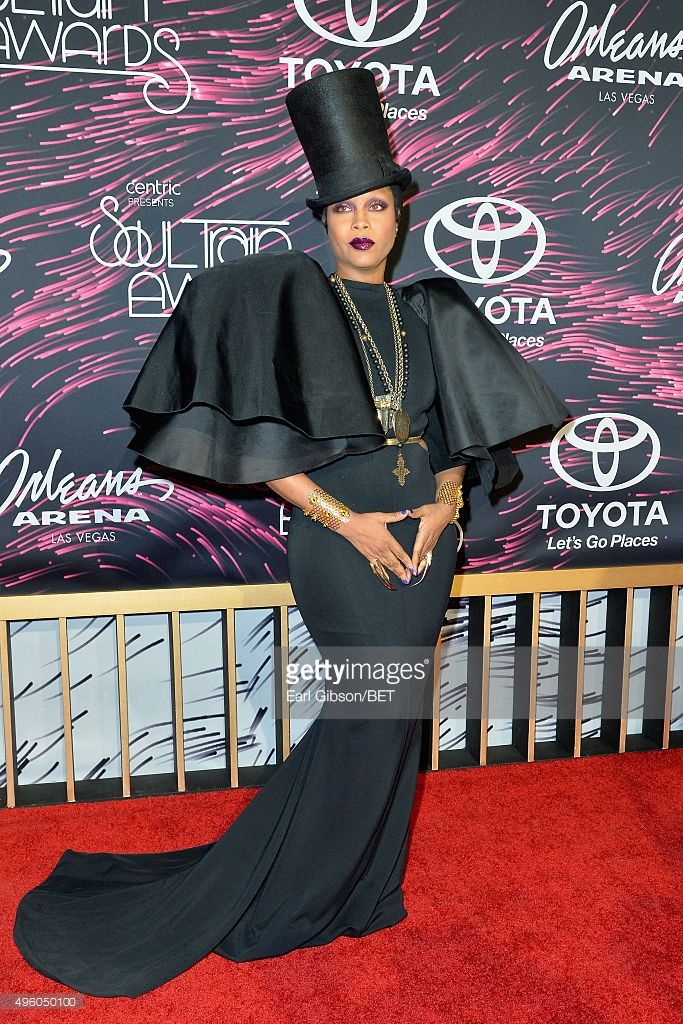 Host Erykah Badu attends the 2015 Soul Train Music Awards at the Orleans Arena on November 6, 2015 in Las Vegas, Nevada.
