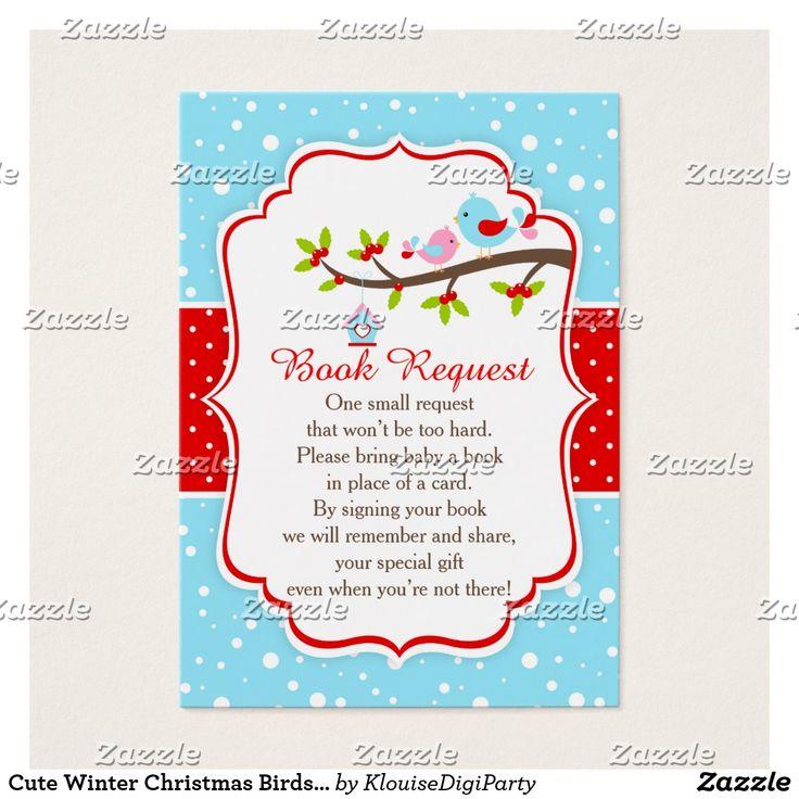 Cute Winter Christmas Birds Book Request Business Card