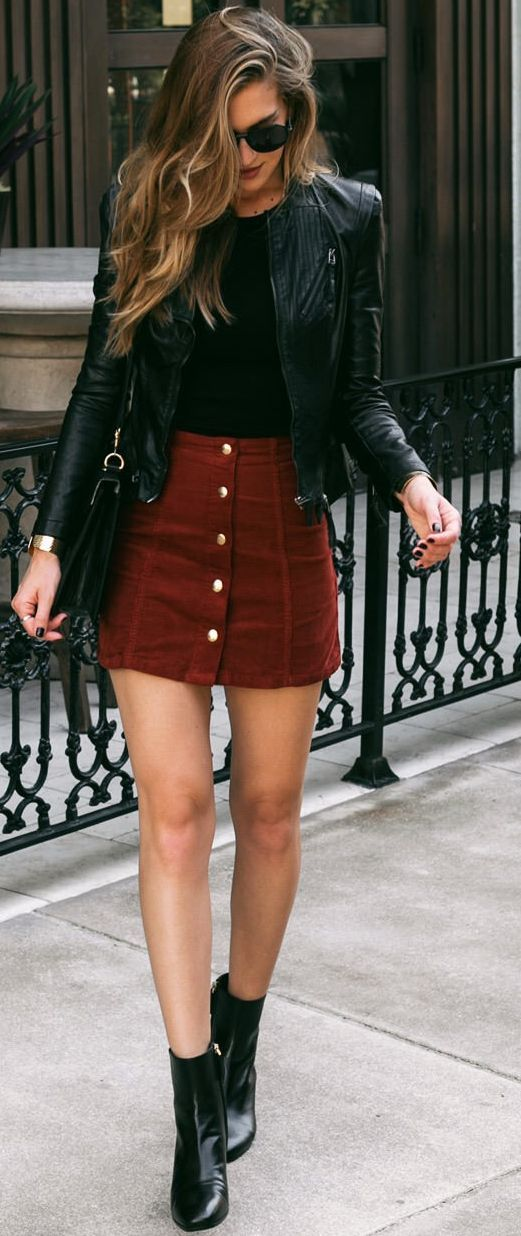 Fabulous leather jacket and skirt mix with just a hint of colour! #style