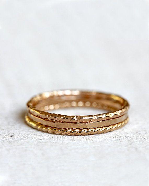 Gold Ringe 14k Gold Stapeln Ringe Stapeln von PraxisJewelry auf Etsy