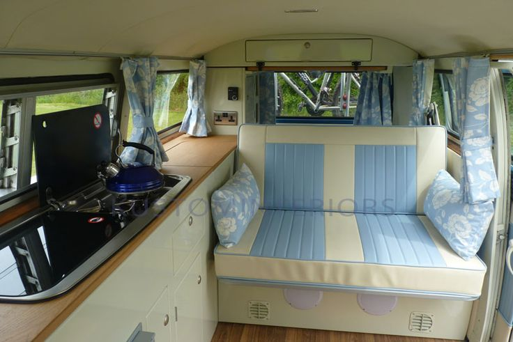 VW Camper Interiors, not keen on the pale blue but nice and light and airy!