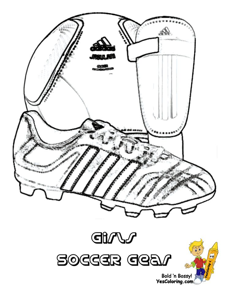 coloring page to print soccer gear soccer ball soccer shoe shin guard