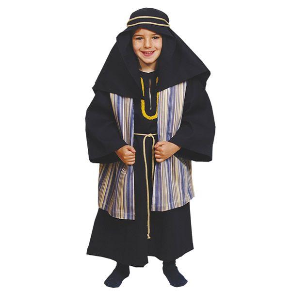 DisfracesMimo, disfraz de hebreo azul para niño varias tallas. De estética Beduína, te permitrá sentirte como un Jeque Árabe en Fiestas Temáticas y Carnaval, un Pastor en Navidad.Este disfraz es ideal para tus fiestas temáticas de disfraces de navidad y cabalgatas infantiles