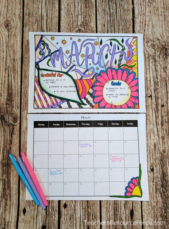 Coloring Calendar with Goals and Gratitude Journal @resourceforce
