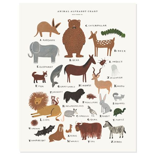 Animal Alphabet Chart by Rifle Paper Co.