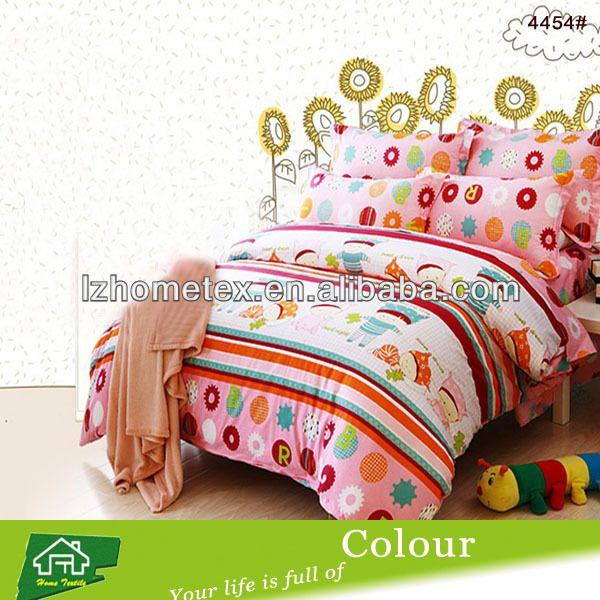 Girls pink cartoon design twin size duvet cover bedding set