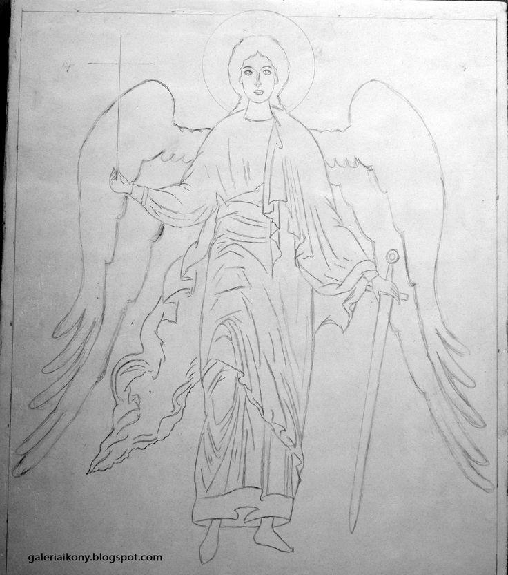 Byzantine icon - a sketch on a board of Guardian Angel.
