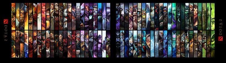 Dota 2 Heroes Dual Monitors Wallpaper, more: http://dota2walls.com/misc/dota-2-heroes-dual-monitors