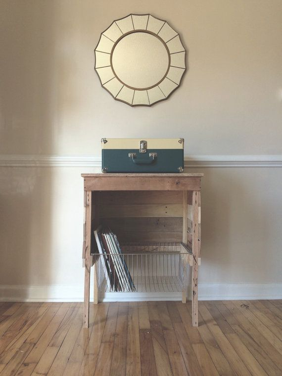 This Reclaimed Record Player Storage Stand is created from different varieties of reclaimed wood. I chose different types of wood to give this