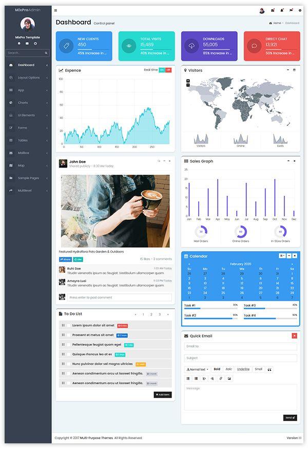 Mixpro Bootstrap 4 Admin Templates Responsive Templates In 2020 Dashboard Template Ecommerce Template Templates
