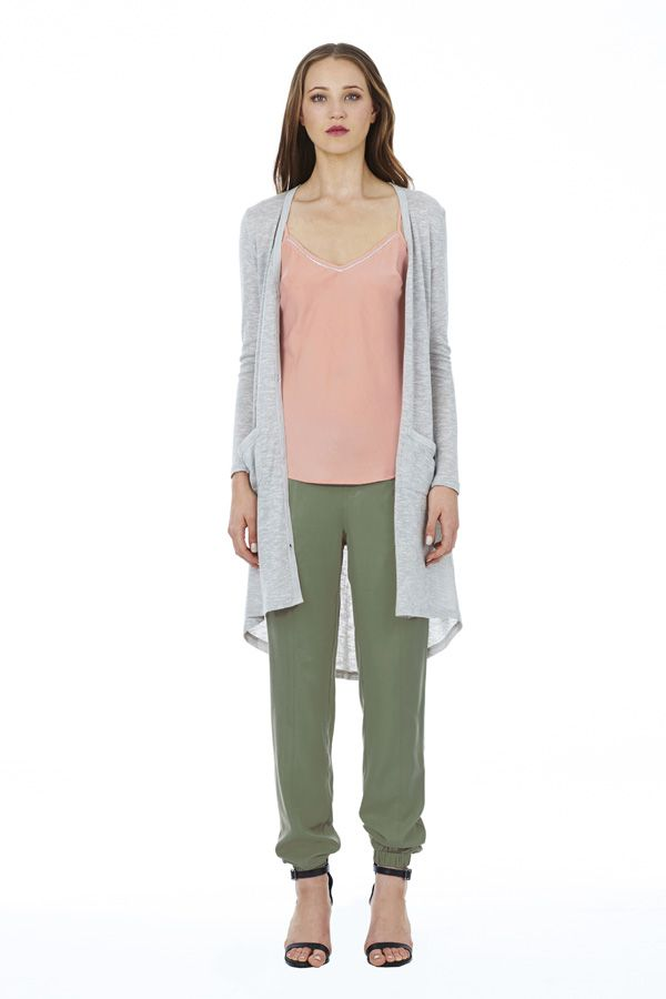 Flicker of Light Cami in Blush under Conclusion Cardigan in Grey Marl with Roadtrip Pant in Khaki