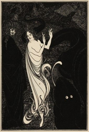 BEARDSLEY, Aubrey (1872-1898). Lady Dancing with Figure looking on.  255 x 190 mm.  An original magazine illustration designed by Aubrey Beardsley, c.1896.
