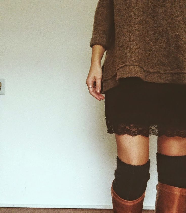oversized sweater over black lace dress w/ OTK socks + boots