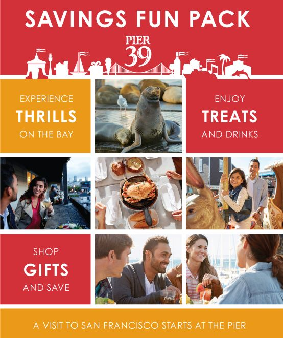 The FREE PIER 39 Fun Pack contains discounts to many of the shops, restaurants and attractions at PIER 39, and two hours of parking in the PIER 39 garage.