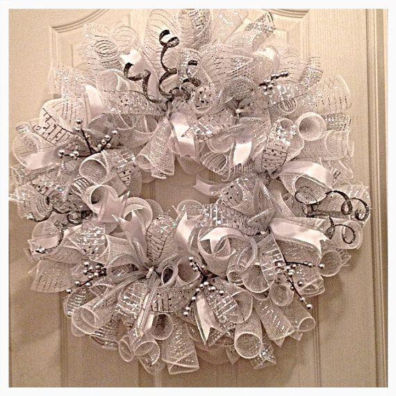 Winter Silver and White Deco Mesh Wreath/ Wedding Wreath/Silver Wreath/White Wreath/Wedding Deco Mesh Wreath