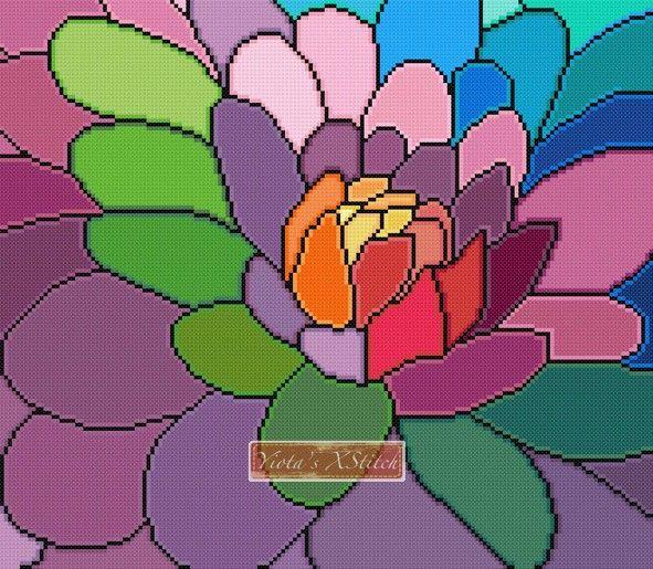 Rainbow dahlia modern cross stitch kit | Yiotas XStitch
