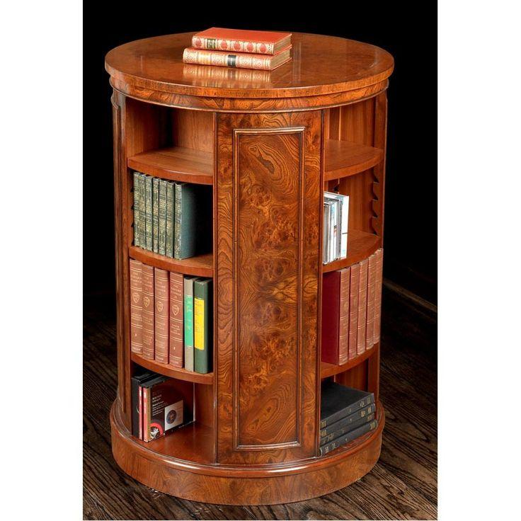 Tall Revolving Elm Round Bookcase