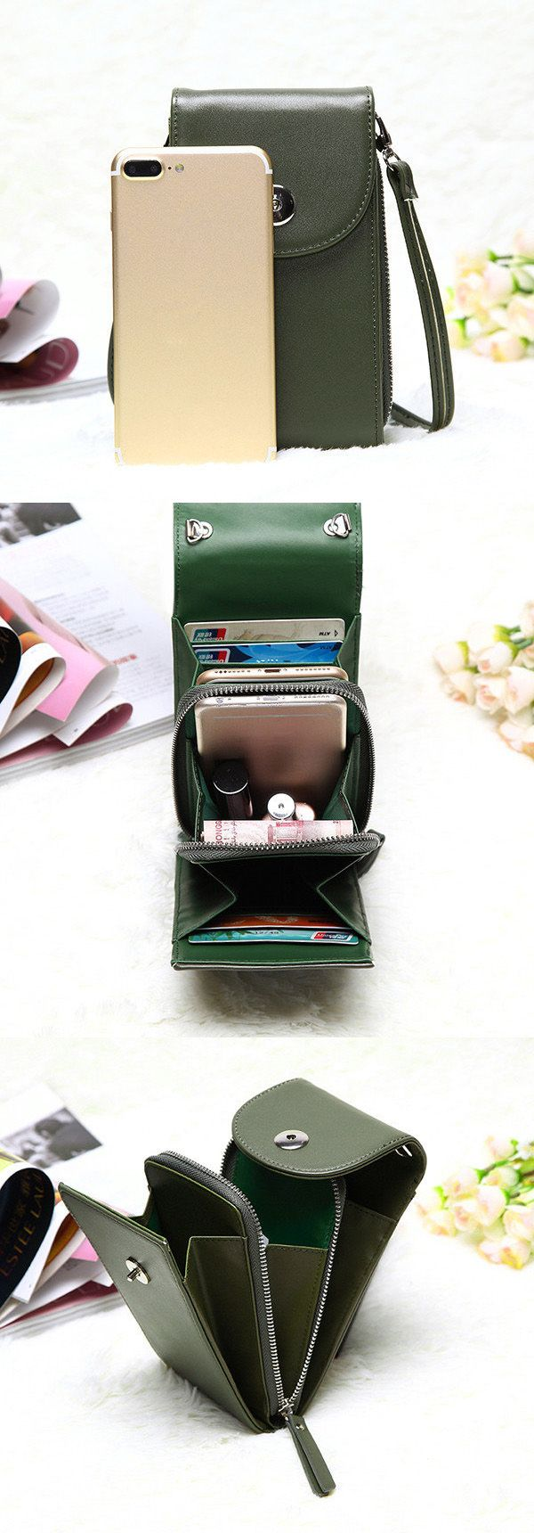 $17.89 Vintage PU Leather Universal 6inch Shoulder Phone Bag For iPhone Samsung Huawei Xiaomi