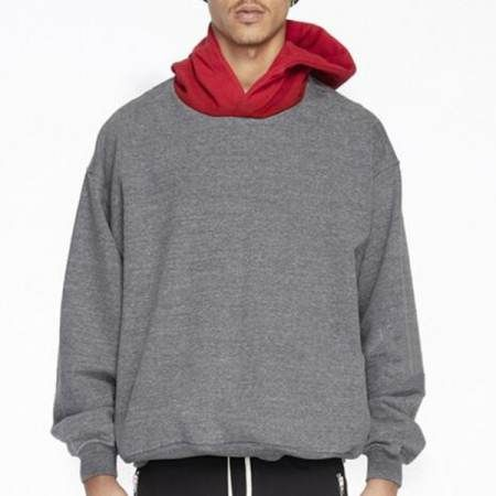 gray and red color block pullover hoodies for men hip hop sweatshirts