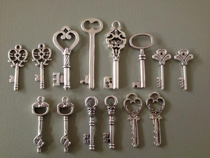 Keys to the Castle - Skeleton Keys - 14 x Antique Silver Vintage Skeleton Keys Key Set Old Keys. $7.00, via Etsy.