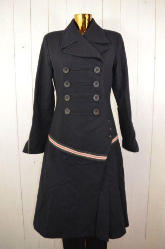 HUNKYDORY-Damen-Mantel-Herbst-Winter-Wolle-Uniform-Doppelreiher-Schwarz-Gr-M