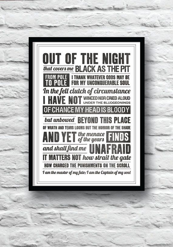 invictus poem poem print i am the master of my fate on poster my wall id=66583